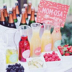 Mom-osa Cocktail Bar Idea for a Spring or Summer Baby Shower #babyshowerideas