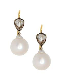 Sylva & Cie 18K Rough Cut Diamond and Freshwater Pearl Earrings with a Teardrop Shaped Rough Cut Diamond and Freshwater Baroque Pearls. Available at London Jewelers!