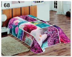 Tyrkysovo fialová deka na gauč s kvetmi