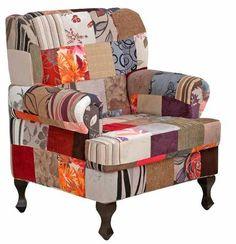 Poltrona Patchwork Gioconda Decorativa Cadeira Sala Recepção - R$ 689,00
