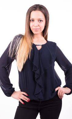 Bluză de damă Tatiana albastru închis, Română
