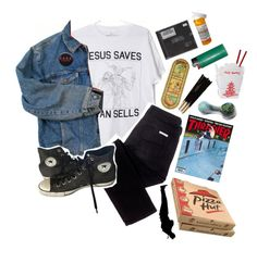 """1970 // the stooges"" by trashpunk ❤ liked on Polyvore featuring sass & bide, Wrangler, Converse and Masquerade"