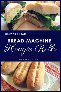 These Bread Machine Hoagie Rolls are easy and fun to make! Impress your family with fresh sandwich rolls for their lunches this week! Bread Maker Recipes, Sandwich Recipes, Sandwiches, Thing 1, Bread Rolls, Rolls Recipe, Quick Bread, Flat Bread, Dinner Rolls