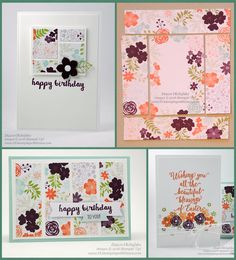 """Hello Sunshine ppFEB2016, Suite Sayings, Whisper White Notecards; panel card: cut 1"""" x 3"""" panel strips; cut 4 pieces from what's leftover and adhere to 2-1/4"""" x 2"""" WW for focal point card; Punch Petite Petals flower from Blackberry Bliss cardstock; Attach Perfect White Accent to flower center and adhere flower to card with glue dot"""