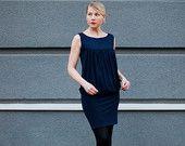 LITTLE dark blue DRESS for nursing mothers or pregnant women / sleeveless / summer dress / mini skirt /  size S,M