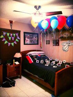 Birthday surprise for Boyfriend. (21st birthday) 21 reasons why I love you on Polaroids