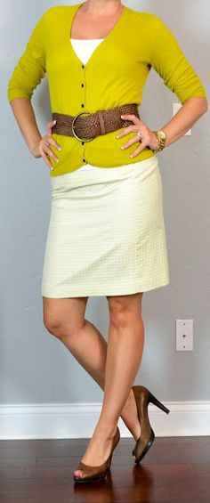 Outfit Posts: outfit post: yellow dot skirt, mustard cardigan, wide woven belt, brown peep toed heels