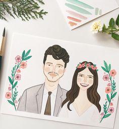 wedding illustration  noivos em estilo de casamento rústico, com ornamento e botânica // couple portrait // ilustração: hello luiza illustrations
