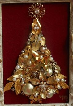 Red Gold Pearl Vintage Rhinestone Jewelry Framed Christmas Tree Framed Art | eBay