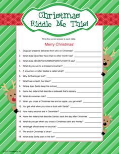 Christmas Riddles - kids Christmas game