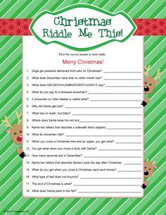 Christmas Riddles - kids Christmas games.