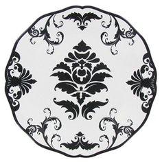 Black & White Damask Round Dessert Plate | Shop Hobby Lobby