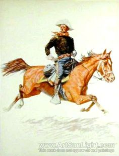 WESTERN ART POSTER Self Portrait Frederic Remington