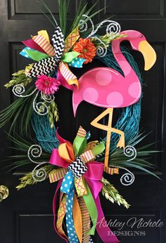 Hey, I found this really awesome Etsy listing at https://www.etsy.com/listing/272712838/flamingo-colorful-wreath-door-decoration