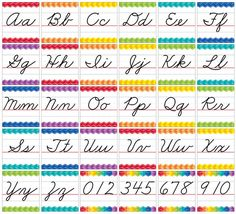 This Cursive Manuscript Alphabet line bulletin board is accented by a colorful herringbone pattern. Use this cursive alphabet line as a handy reference for students who are just learning cursive writing or for older students who need a visual reminder. Learn To Write Cursive, Teaching Cursive, Improve Your Handwriting, Handwriting Alphabet, Improve Handwriting, Cursive Handwriting, Handwriting Worksheets, Handwriting Practice, Penmanship