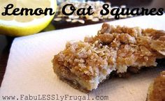 Lemon Oat Squares Recipe. A yummy whole grain crust and topping with a sweet/tart lemon filling. http://fabulesslyfrugal.com/?p=201007