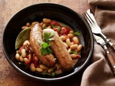 Turkey Sausages with Spicy Beans : Sausages with Fagioli All'uccelletta : Recipes : Cooking Channel