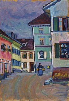 """Wassily Kandinsky,  """"Johannisstrasse, Murnau"""",1908. Esta pintura pertenece a la Colección Thyssen-Bornemisza, por lo que se muestra en la SALA 38 del Museo. #ProgramaNosotras"""