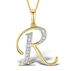 Shop for Trillion Designs Gold over Silver Diamond Accent Initial 'R' Pendant Necklace. Get free delivery On EVERYTHING* Overstock - Your Online Jewelry Destination! Alphabet Necklace, Letter Necklace, Gold Pendant Necklace, Pendant Jewelry, Silver Diamonds, Natural Diamonds, Diamond Stores, Initial Pendant, Luxury Jewelry