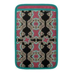 Stylish Vintage Inspired Damask Pink Teal Pattern MacBook Air Sleeve