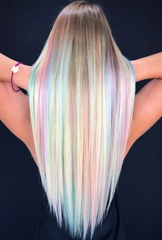 Hairstyles 2020 Trends Rainbow Opals Are My Favorite Hair Color.Hairstyles 2020 Trends Rainbow Opals Are My Favorite Hair Color Cute Hair Colors, Pretty Hair Color, Beautiful Hair Color, Hair Color Purple, Hair Dye Colors, Green Hair, Blonde Hair With Purple Highlights, Pastel Colors, Pastel Rainbow Hair