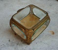 Antique Jewelry Casket French Glass Ormolu Jewelry Box Casket