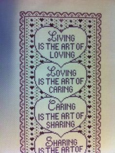 Completed Cross Stitch  Living Is The Art Of  by XStitchedMessage,