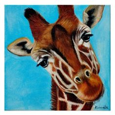 """Pillow Cover for Children's rooms, """"Giraffe"""" Original Oil painting from my Safari Collection+ FREE print, R Taylor by A. Giraffe Drawing, Giraffe Painting, Animal Vegetable Mineral, Girl Room, Decorative Throw Pillows, Fox Pillow, Moose Art, Pillow Covers, Original Art"""