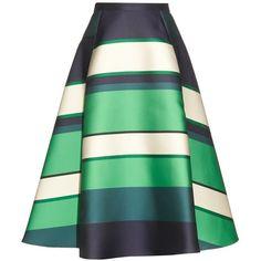 Lanvin Duchesse stripe berlingot A-line skirt ($2,045) ❤ liked on Polyvore featuring women's fashion, skirts, lanvin, green stripe, green a line skirt, striped a line skirt, high waisted knee length skirt, midi skirt and a-line skirt
