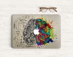 Gauche et droite noir blanc couleur Art cerveau autocollant peau vinyle autocollant pour ordinateur portable MacBook K0408