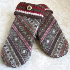 Brown and Tan Fair Isle Adult Mittens Upcycled by FeltSewGood, $26.00
