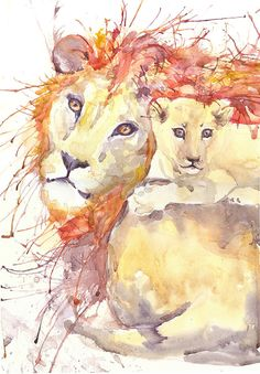 Lion and cub, watercolor painting, wall decor, african animal, animal art, art print, zodiacal,  wildlife, signs of the zodiac, lion art