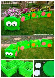 DIY Caterpillar wooden box train planter tutorial with video . DIY Caterpillar wooden box train planter tutorial with video …. DIY Caterpillar wooden box train planter tutorial with video … - Kids Outdoor Play, Outdoor Play Areas, Kids Play Area, Backyard For Kids, Childrens Play Area Garden, Kids Outdoor Spaces, Children Garden, Garden Crafts, Garden Projects