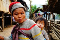 Mom with her baby at a refugee camp along the Thai- Burma border