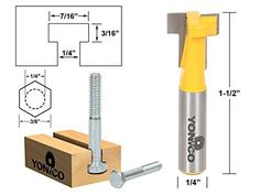 Yonico 14190q T-Slot Cutter Router Bit for 3/8-Inch Hex Bolt Heads 1/4-Inch Shank