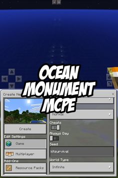 Check out the Minecraft Pocket Edition Seed 'kitsurvival' - there's an ocean monument right offshore!