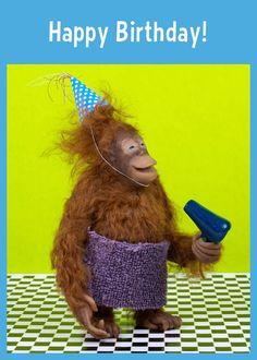 Happy Birthday Orangutan Greeting Card design. Made from polymer clay and lambswool.  www.carolinegrayillustration.com