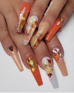 Knockout Nail Arts for Ladies - Ani Exclusive Halloween Acrylic Nails, Bling Acrylic Nails, Best Acrylic Nails, Bling Nails, Fall Nail Art Designs, Beautiful Nail Designs, Acrylic Nail Designs, Uñas Fashion, Thanksgiving Nails