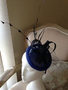Sophisticated cobolt blue fascinator with black loop, feathers and netting on a headband by CanteringDesigns on Etsy