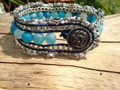 Leather Druzy Cuff, Real Leather Blue Druzy & Seed Bead Cuff Wrap Bracelet by BaileyBespoke on Etsy