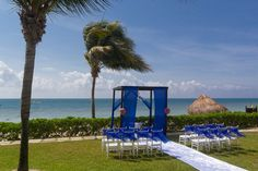 The white and blue decor are the perfect colors #SecretsCapriRivieraCancun #Mexico #DestinationWedding