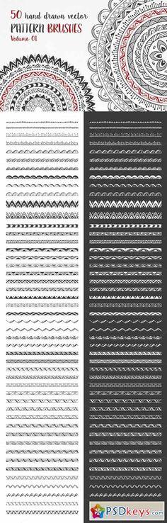 Hand Drawn Pattern Brushes Vol. 01 384316