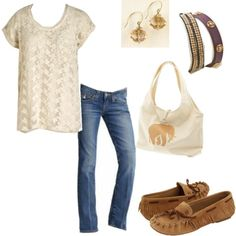 love the lace top and moccasins.