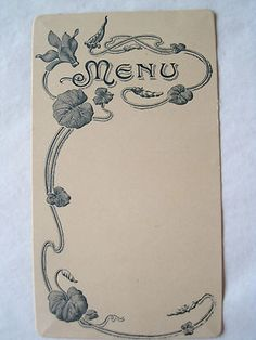 Antique French Art Nouveau Menu C1911- Unused 3 Separate Menus Available $12 Each Menu