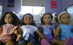 These are my American Girl dolls of the year! Chrissa, Lanie, Kanani, and Mckenna.