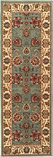 "Ottohome Collection Persian Style Oriental Sage Green / Aqua Blue Modern Design Runner Rug (2'7""x10') 31 Inch By 120 Inch Hallway Runner Ottomanson http://www.amazon.com/dp/B016KWC9NM/ref=cm_sw_r_pi_dp_E8aJwb106X2HZ"