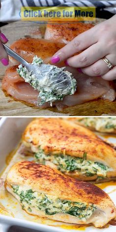 Low carb and keto friendly! This spinach stuffed chicken is a family favorite an. recipe food recipes Low carb and keto friendly! This spinach stuffed chicken is a family favorite an. Healthy Dinner Recipes, Diet Recipes, Cooking Recipes, Health Food Recipes, Healthy Lunch Ideas, Cream Cheese Recipes Dinner, Carb Free Recipes, Healthy Meal Prep, Meat Recipes
