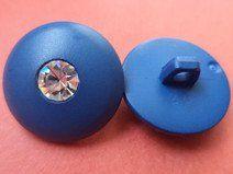 11 STRASSKNÖPFE blau 18mm (6351-3) Knöpfe Strass