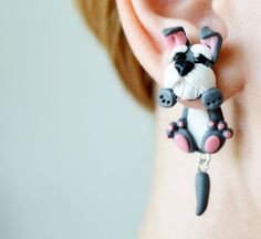 Dog earrings grey schnauzer earrings pet stud dog post earrings animal ear jackets puppy double sided earrings unusual front back earrings