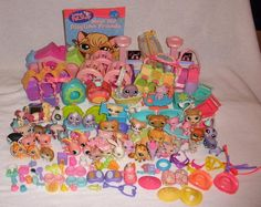 Large Lot Of Littlest Pet Shop Accessories And 42 Pets  2004-2008 #Hasbro